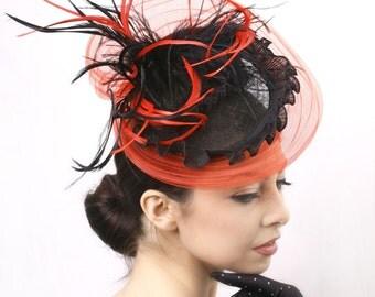 Black red fascinator hat, Royal ascot fascinator, derby fascinator hat,Kentucky derby hat, Red Couture headpiece, race derby fascinator