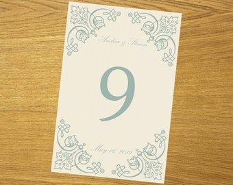 DIY table number template, all colors available, instant download, 001-003