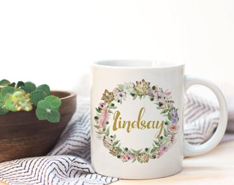 Custom name mug, custom quote, personalized mug, elegant rustic, boho wedding, modern farm, summer wedding, name mug, succulents flowers