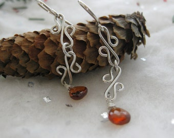 Earrings Squiggles Argentium Silver and Hessonite Garnet