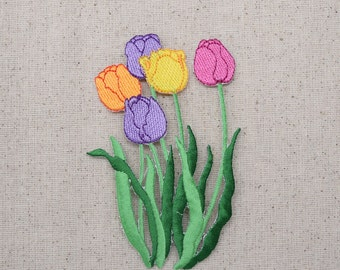 Tulip Flowers - Five - Purple, Yellow, Orange, Pink - Iron on Applique - Embroidered Patch - 696705-A