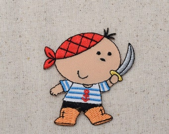Pirate Boy - with Sword - Iron on Applique - Embroidered Patch - 159788A