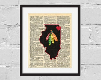 Chicago Blackhawks Print. Dictionary Art Print.