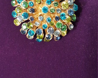 Totally Awesome Large Vintage Starburst Brooch Pin, Multicolored Rhinestone on Gold Tone Base, Fireworks Pin