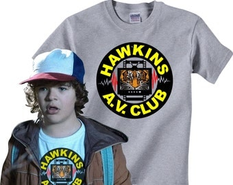 Hawkins A.V. Club T-shirt in many color options - adult mens/unisex shirts - insprired by the Tv show Stranger Things