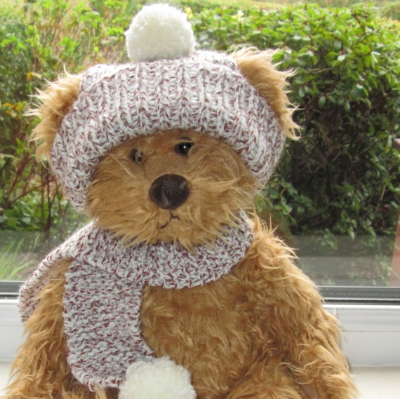 Teddy Bear Clothes Aran Bobble hat & Scarf Hand Knitted