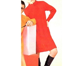 Women's Retro Knitting Dress Pattern from the 60s