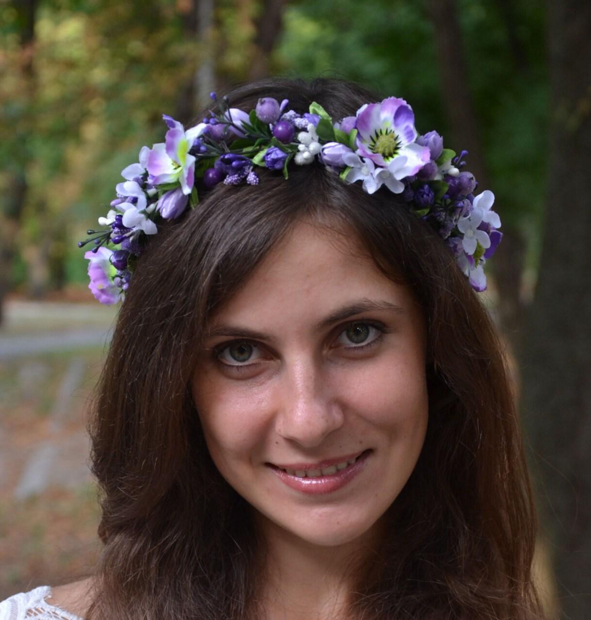 purple wedding halo flower wedding headband bridal halo bridal. Black Bedroom Furniture Sets. Home Design Ideas