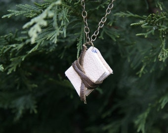 Medium Mini Cream Leather Book Necklace