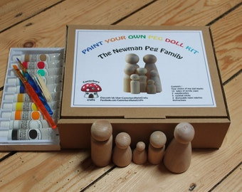 Paint your own DIY wooden PEG DOLL Family of 5 craft kit - personalised surname - 3 4 blank child adult pet make art cake toppers gift