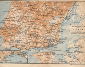 1913 Lisbon Portugal Antique Map
