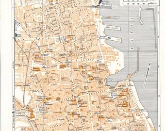1959 Palermo Sicily Italy Antique Map