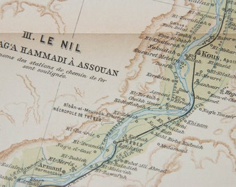 1929 Nile River Egypt Antique Map