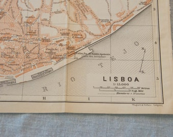 1913 Lisbon Portugal Antique Map