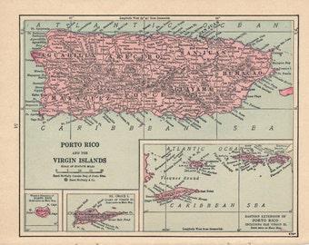 1928 Porto Rico Antique Map