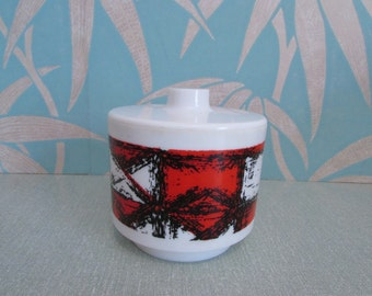 1960s Kingston Plastics lidded pot/container - red, white & black abstract design