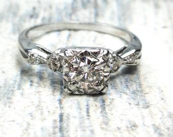 Vintage Diamond Engagement Ring 18k White Gold Diamond Ring Round Brilliant Cut Diamond Engagement Circa 1950 Vintage Engagement Ring Size 6
