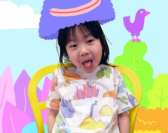 YUK FUN Birds and Cacti all-over print Kids T-shirt, cool kids tshirt, colourful kids tshirt, birds kids tshirt, tshirt for kids, childrens