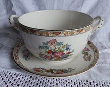 Keeling & Co Losol Ware Floral Serving Bowl with Handles and Saucer c1910
