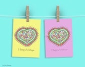 Happy holidays cards, Christmas Cards, Christmas greetings cards,  Holiday CardsIllustrated Christmas, Heart, Yellow, Cards