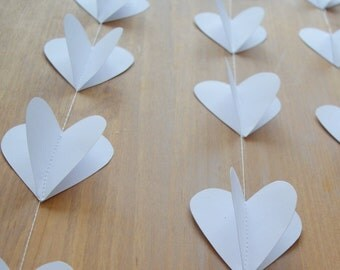 Set of 3 White Heart Garlands, Wedding Decorations,  Engagement Party, Home Decor,