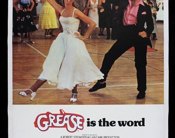 Grease 1978 Movie Poster Stretched Art Canvas Choice of sizes available.