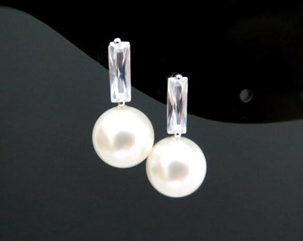 Pearl Earrings Swarovski 10mm Round Pearl Earrings Cubic Zirconia Bar Stud Earrings Wedding Jewelry Bridesmaids Gift (E162)