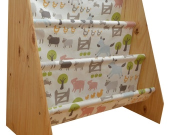 Kids wooden book sling bookcase with farm animal fabric