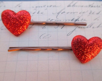 Heart hair clips-heart barrettes-Little girls barrettes-Sparkly-hair pins-Valentines bobby pins-tween-young girls-cute-kids valentines gifts