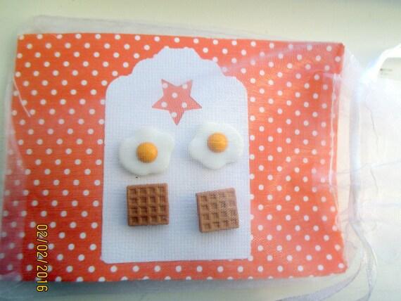 Fried Egg Earrings-Miniature fried egg jewelry-Food Earrings-Novelty Jewelry-kids gifts-food studs-clip on earrings-egg studs-waffle studs