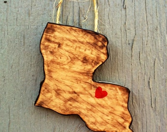 Wooden State Ornaments - Personalized Ornaments - Home Is Where The Heart Is