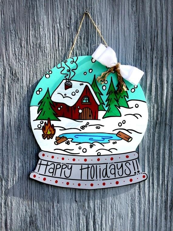 Christmas Door Hangers Snow Globe Door Hanger By Lbwoodensigns