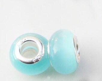 5 PC Aqua Cat's Eye Opal European Bead
