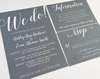Grey Wedding Invitation - Printable - Wedding Invitation - Digital