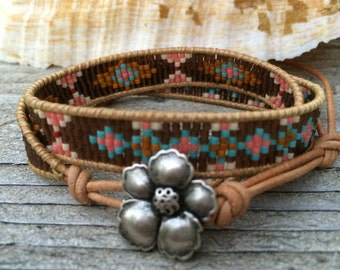 Brown and pink tribal leather 2x wrap