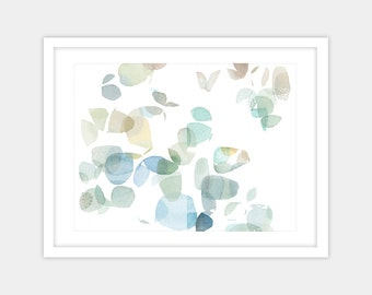 Large abstract watercolor print, gold blue green wall art giclee print, spring home decor