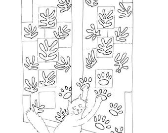 Henri Matisse Cat Cut-Outs #colouringInAsTherapy black n white monochrome - Digital Download .jpeg .jpg