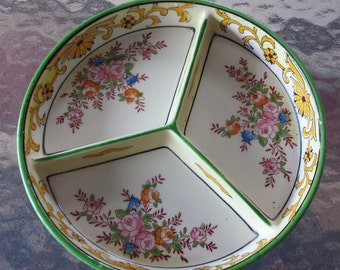 Vintage Divided China Candy Relish Dish Hand Painted Flowers made in Japan 1920 D499