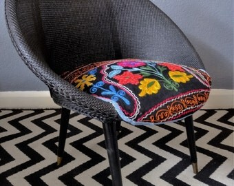 Black 60's chair with bold embroidered seat