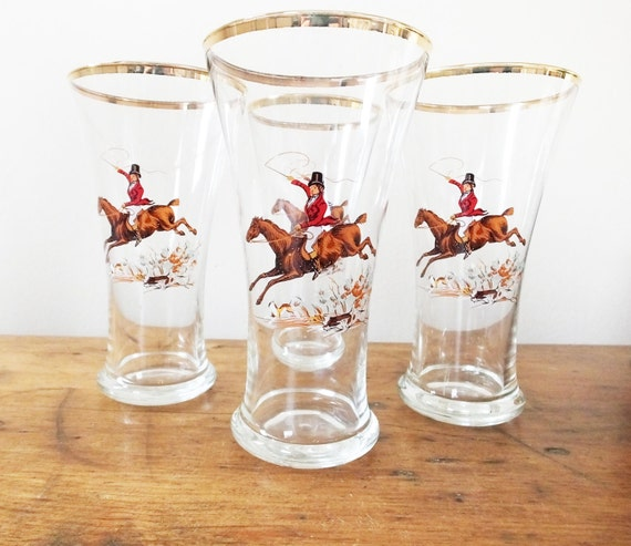 Vintage tall drinking glasses tumblers hi ball juice lemonade fox hunt scene horse set of 4 - retro barware
