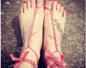 Barefoot Sandles (MADE TO ORDER), Foot Jewelry, Boho Anklets, Braided Hemp Anklets, Beach Jewelry, Beachwear, Wedding Sandals - 00022