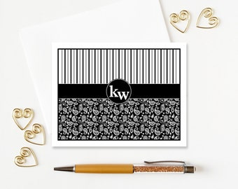Monogram Stationary | Personalized Stationery Set | Monogram Notecards | Paisley Folded Note Cards