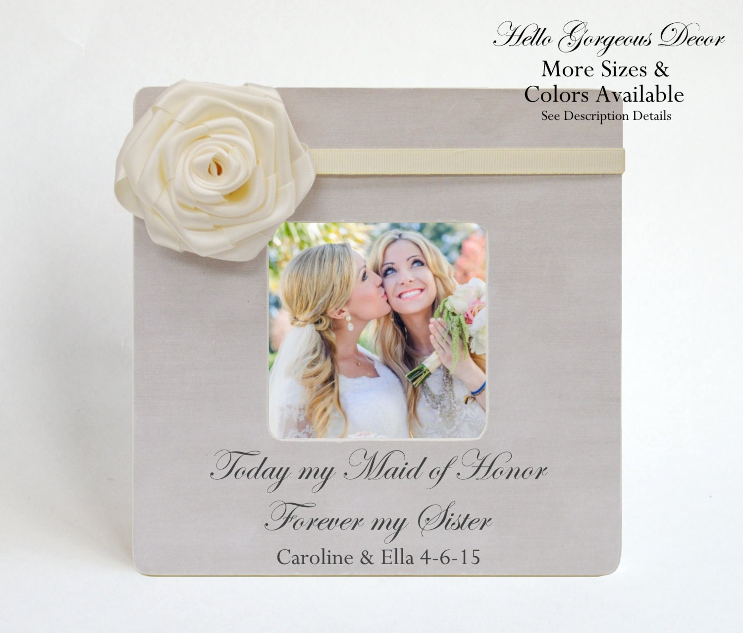 Maid Of Honor Sister Picture Frame Ask Thank You Proposal