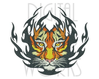 Tiger Flames Machine Embroidery Design for 4x4, 5x7, 6x10 inch frames. Instant Download Digital file. Flaming Tiger Face