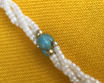 1980's  Mauritian Pearl & turquoise bead Necklace