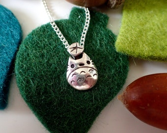 TOTORO and Leaf Silver Necklace and Bracelet charm (Ghibli and Miyazaki inspired)
