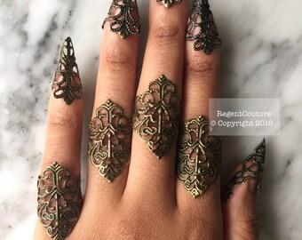 10 pcs filigree finger tips and rings set brass