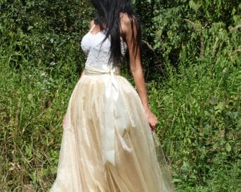 Beige tutu skirt, Long Tulle Skirt, Creamy Tulle Skirt, Wedding Skirt