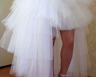 white tutu skirt with train  tulle skirt