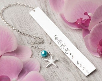 personalized bookmark,emma jewelry,book lover gift, mother bookmark,charm bookmark,name bookmark,stamped bookmark,silver starfish